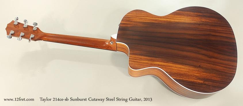 Taylor 214ce-sb Sunburst Cutaway Steel String Guitar, 2013 Full Rear View