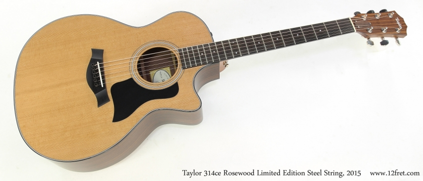 Taylor 314ce Rosewood Limited Edition Steel String, 2015   Full Front VIew