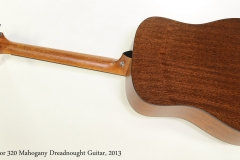 Taylor 320 Mahogany Dreadnought Guitar, 2013 Full Rear View