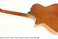 Taylor 512ce Cedar Top Grand Concert Steel String Full Rear View