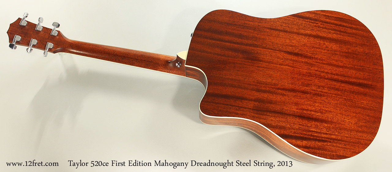 Taylor 520ce First Edition Mahogany Dreadnought Steel String, 2013 Full Rear View