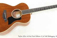 Taylor 522e 14-Fret First Edition 12 of 100 Mahogany, 2013 Full Front View