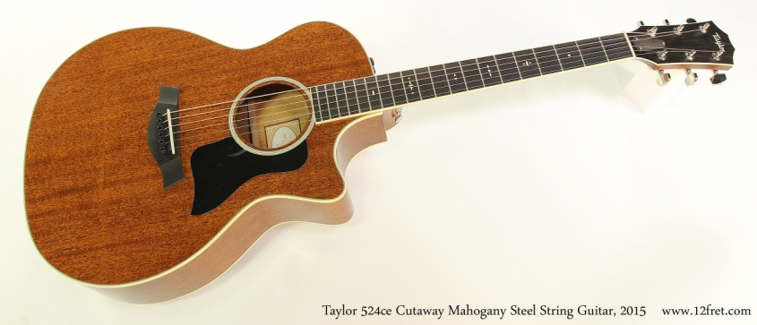 Taylor 524ce Cutaway Mahogany Steel String Guitar, 2015  Full Front View
