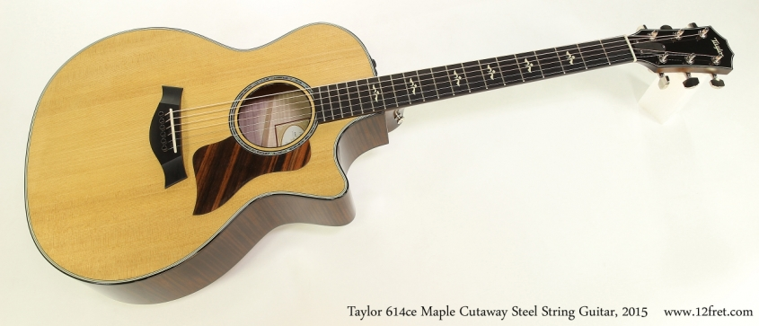 Taylor 614ce Maple Cutaway Steel String Guitar, 2015  Full Front View