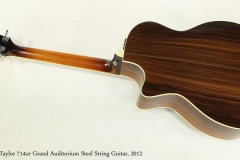Taylor 714ce Grand Auditorium Steel String Guitar, 2012 Full Rear View