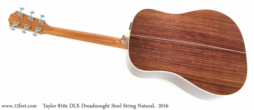 Taylor 810e DLX Dreadnought Steel String Natural, 2016 Full Rear View