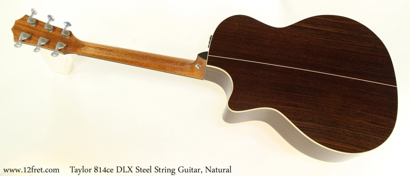 Taylor 814ce DLX Steel String Guitar, Natural Full Rear View
