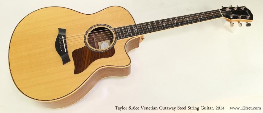 Taylor 816ce Venetian Cutaway Steel String Guitar, 2014 Full Front View