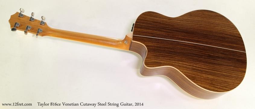 Taylor 816ce Venetian Cutaway Steel String Guitar, 2014 Full Rear View