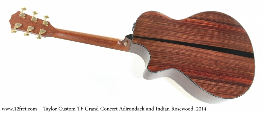 Taylor Custom TF Grand Concert Adirondack and Indian Rosewood, 2014 Full Rear View