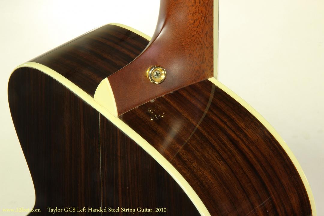 Taylor GC8 Left Handed Steel String Guitar, 2010  Heel Finish View