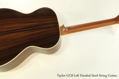 Taylor GC8 Left Handed Steel String Guitar, 2010 Full Rear View