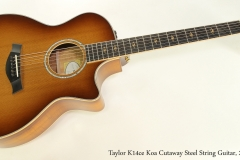 Taylor K14ce Koa Cutaway Steel String Guitar, 2015 Full Front View