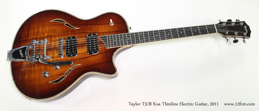 Taylor T3/B Koa Thinline Electric Guitar, 2011 Full Front View