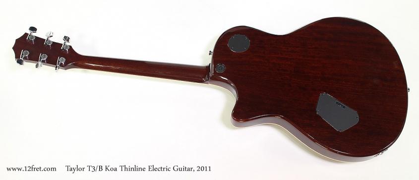 Taylor T3/B Koa Thinline Electric Guitar, 2011 Full Rear View