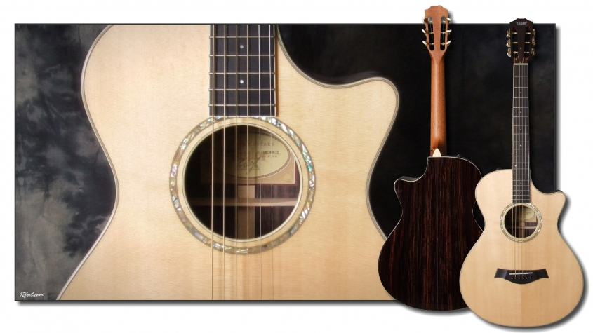 Taylor 12 Fret Steel String Acoustic Guitar Top and Front View