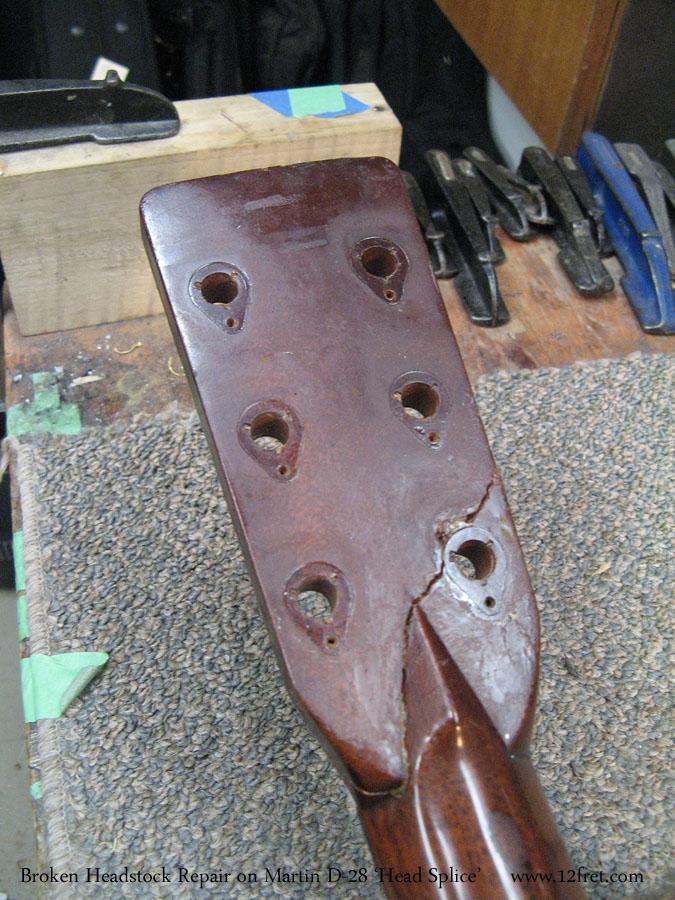 Broken Headstock Repair on Martin D-28 'Head Splice' Broken Head