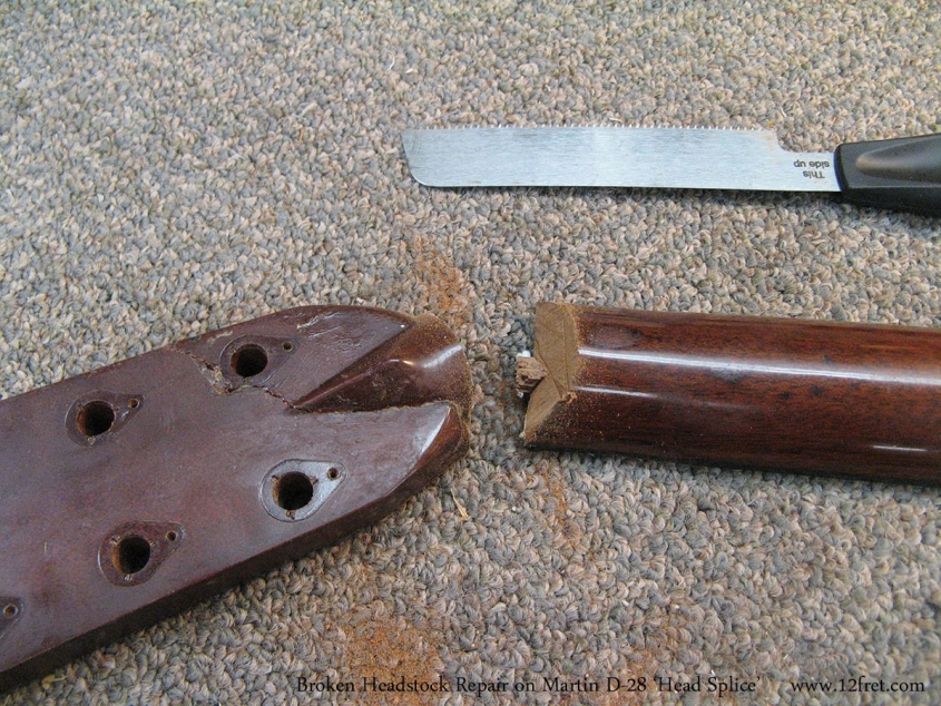 Broken Headstock Repair on Martin D-28 'Head Splice' Head Removed