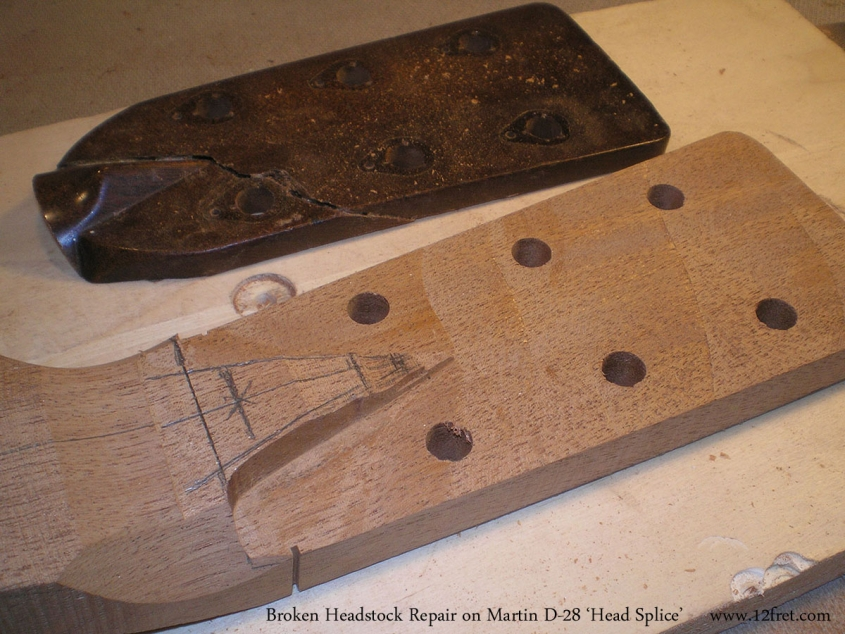 Broken Headstock Repair on Martin D-28 'Head Splice' Head Blank Prepared