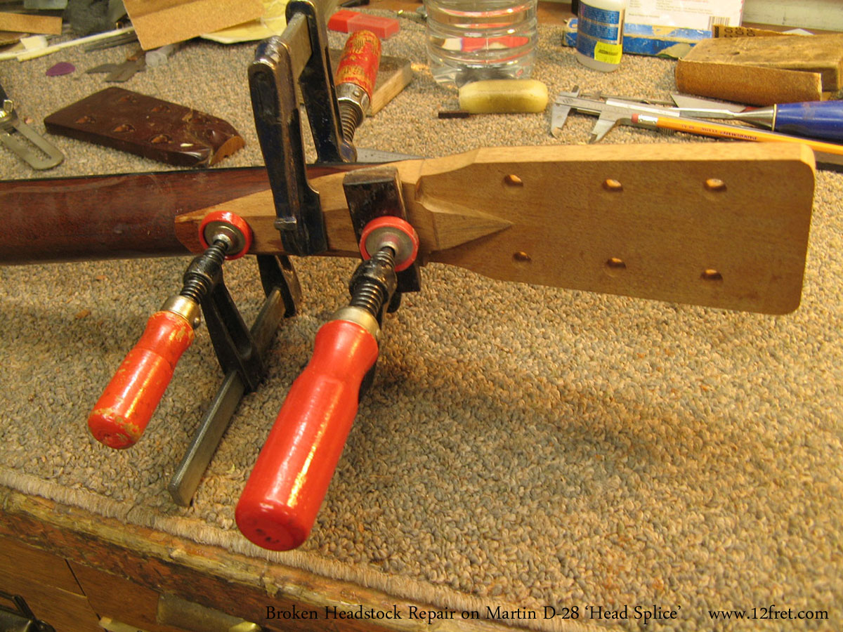 Broken Headstock Repair on Martin D-28 'Head Splice' Gluing New Head