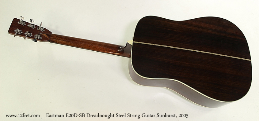 Eastman E20D-SB Dreadnought Steel String Guitar Sunburst, 2005 Full Rear View
