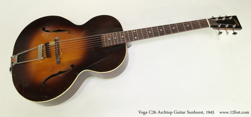 Vega C26 Archtop Guitar Sunburst, 1945 Full Front View