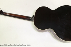 Vega C26 Archtop Guitar Sunburst, 1945 Full Rear View
