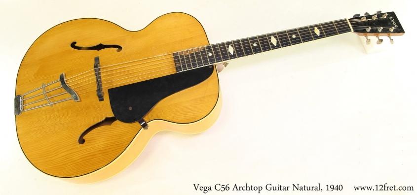 Vega C56 Archtop Guitar Natural, 1940 Full Front View