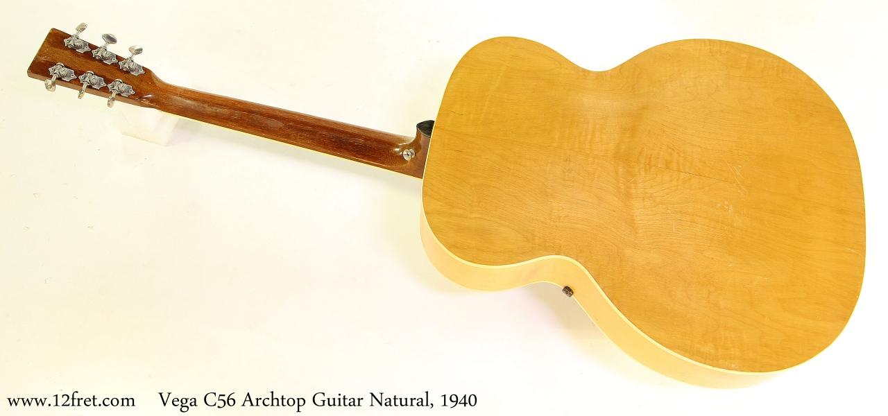 Vega C56 Archtop Guitar Natural, 1940 Full Rear View