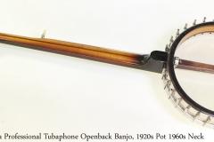 Vega Professional Tubaphone Openback Banjo, 1920s Pot 1960s Neck Full Rear View