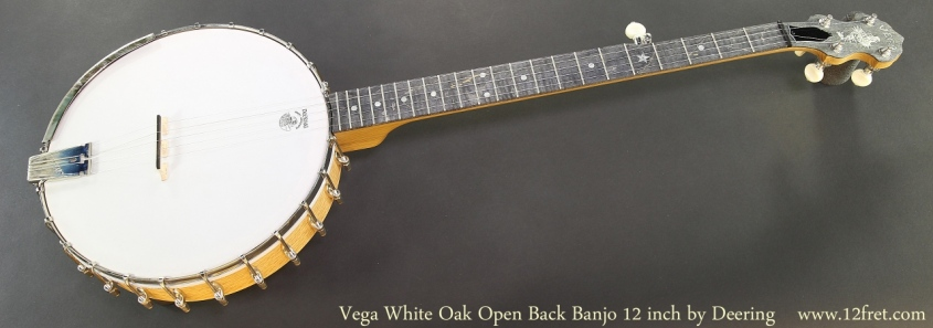 Vega White Oak Open Back Banjo 12 inch by Deering Full Front View