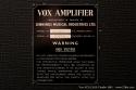 Vox AC10 2x10 Combo Amp 1965 plaque