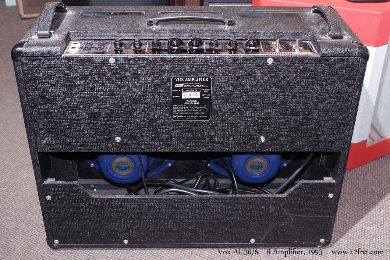 ac30. vox ac30/6 tb amplifier, 1993 full rear view ac30