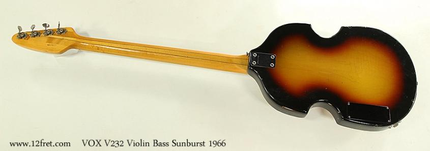 VOX V232 Violin Bass Sunburst 1966 Full Rear View
