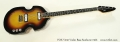 VOX V232 Violin Bass Sunburst 1966 Full Front View