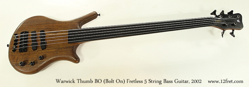 Warwick Thumb BO Bolt On Fretless 5 String Bass Guitar, 2002 Full Front View