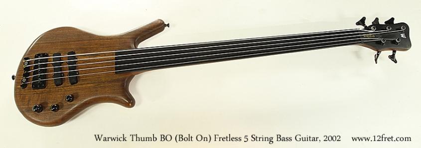 Warwick Thumb BO Bolt On Fretless 5 String Bass Guitar, 2002 Full Front View