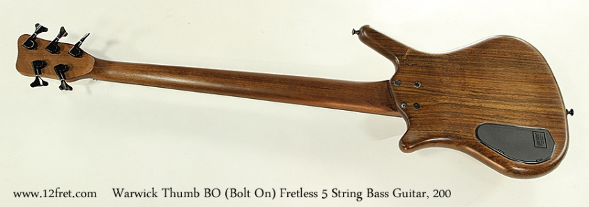 Warwick Thumb BO Bolt On Fretless 5 String Bass Guitar, 2002 Full Rear View
