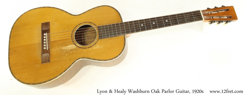 Lyon & Healy Washburn Oak Parlor Guitar, 1920s Full Front View