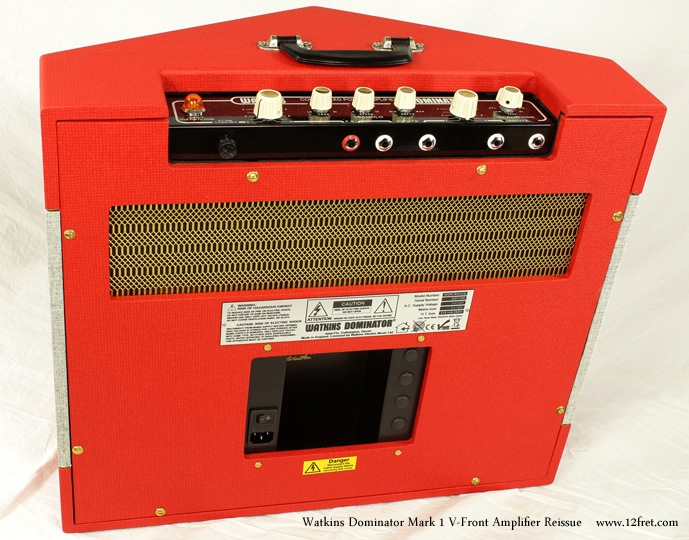 Watkins Dominator Mark 1 V-Front Amplifier Reissue Dansette Red Full Rear VIew