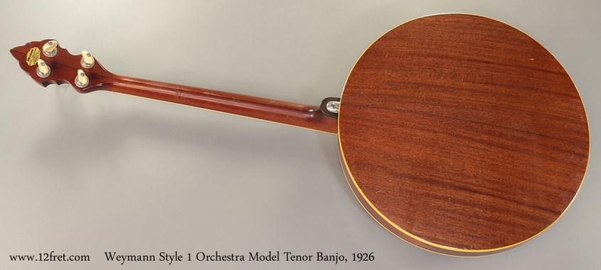 Weymann Style 1 Orchestra Model Tenor Banjo, 1926 full rear view