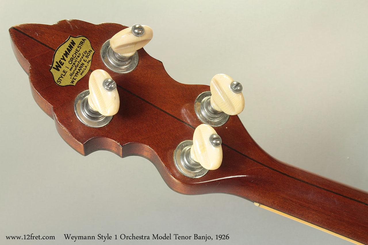 Weymann Style 1 Orchestra Model Tenor Banjo, 1926 head rear