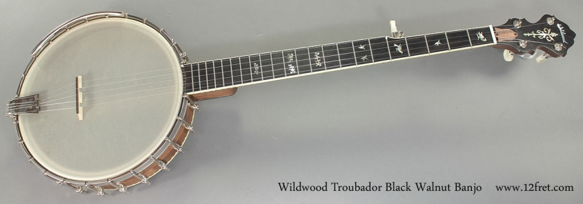 Wildwood Troubador Black Walnut Banjo Oil Finish full front view