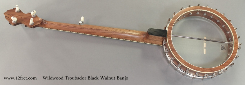 Wildwood Troubador Black Walnut Banjo Oil Finish full rear view