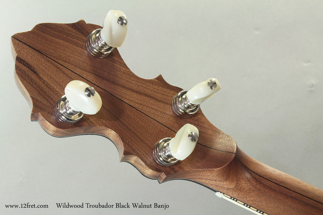 Wildwood Troubador Black Walnut Banjo Oil Finish head rear