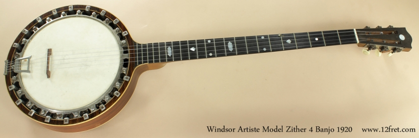 Windsor Artiste Model 4 Zither Banjo 1920 full front view