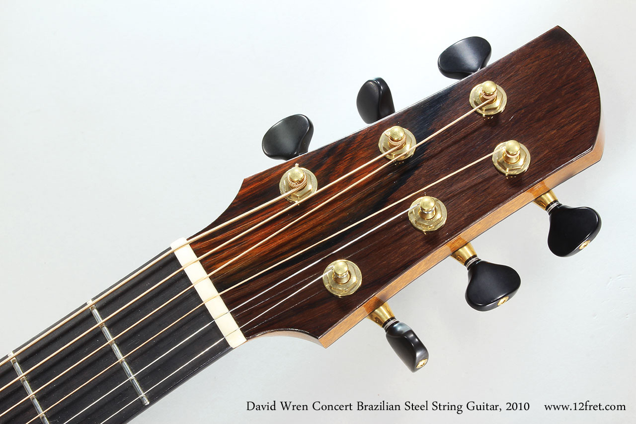 David Wren Concert Brazilian Steel String Guitar, 2010 Head Front View
