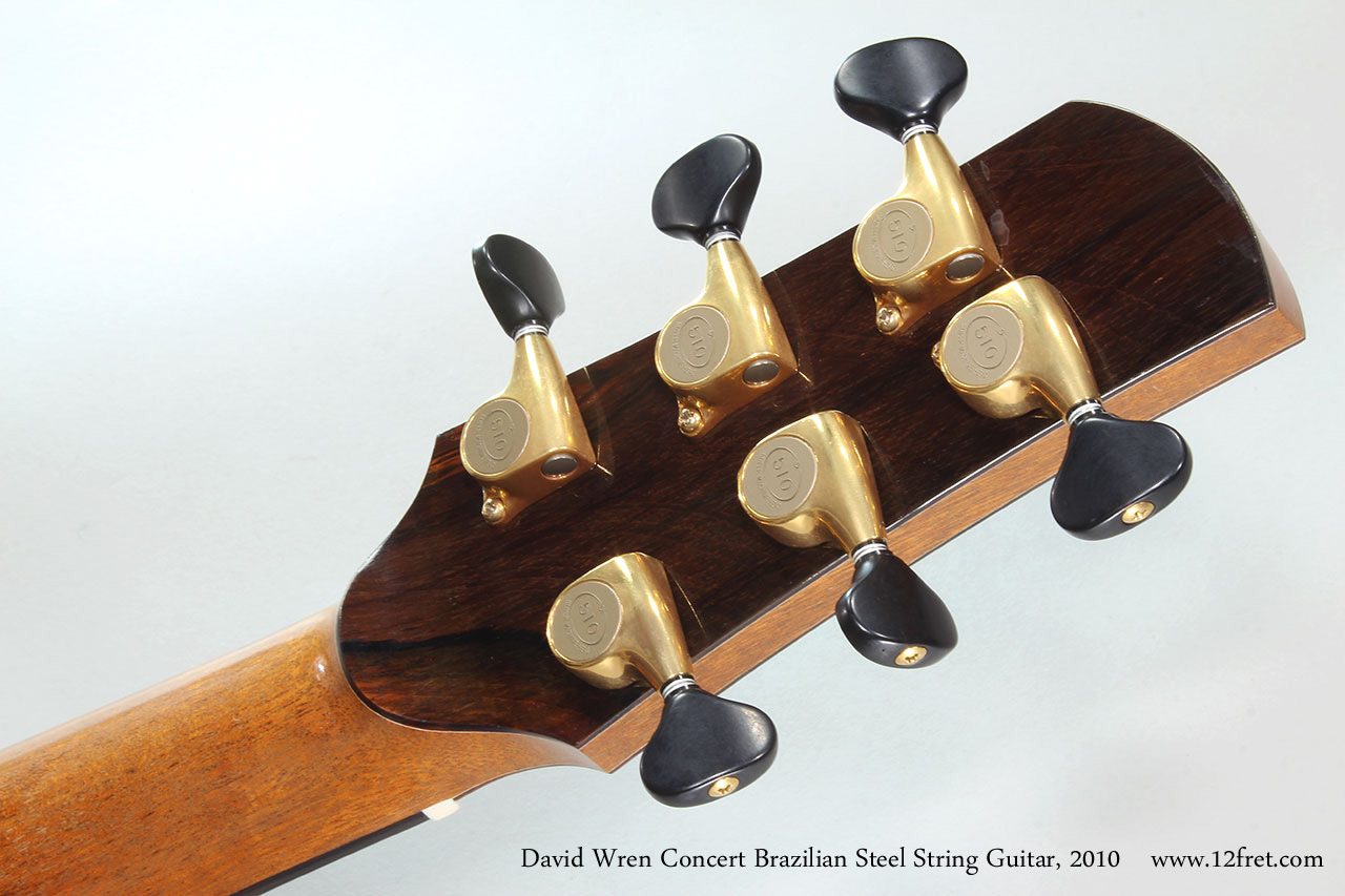 David Wren Concert Brazilian Steel String Guitar, 2010 Head Rear View