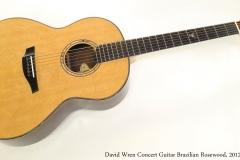 David Wren Concert Guitar Brazilian Rosewood, 2012  Full Front View