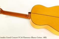 Yamaha Grand Concert FC10 Flamenco Blanca Guitar, 1983   Full Rear View